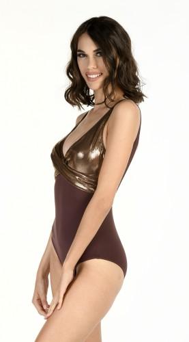 Intero donna mod. Agata lurex bronzo
